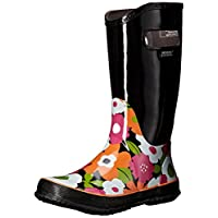 GIRLS BOGS BLACK MULTI FLOWER LIGHTWEIGHT RAIN BOOT WELLIES WELLINGTONS 71927 (UK13/EU31)