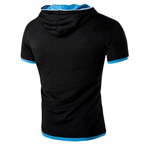 Rcool Männer Sommer Sport Zepper Bluse Kapuzen Kurzarm T-Shirt Tops Schwarz