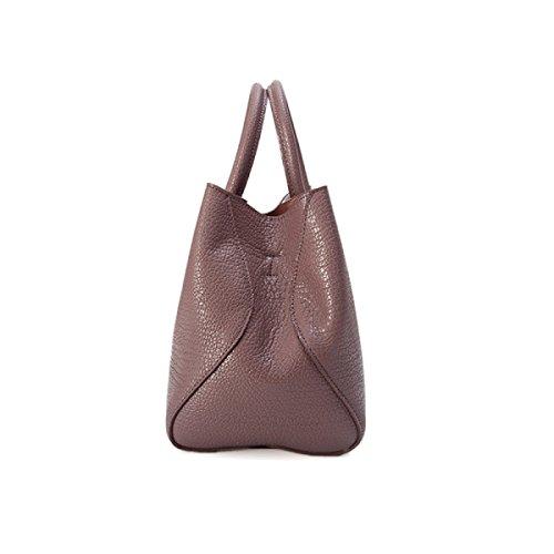 Dame Fashion Solid Color Retro Schultertasche Messenger Bag,Black RedBean