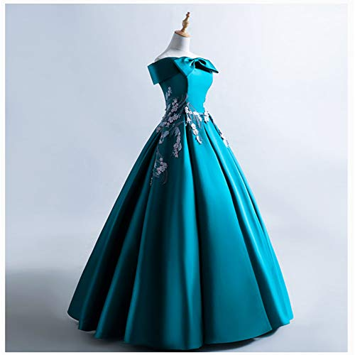 QAQBDBCKL Slash Kragen Bowknot Stickerei Rokoko Ballkleid Lange Kleid Medieval Renaissance Kleid...