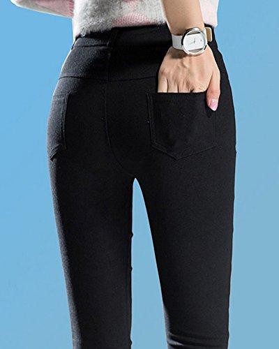Donna Leggings Pianura Pantaloni Stirata Matita Pantaloni Nero