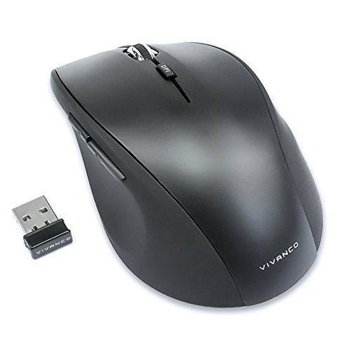 Vivanco Silent Mouse, Funk Maus, leise, geräuscharm, ergonomisch, kabellos, Wireless, 800-1600 DPI umschaltbar Kaum Klickgeräusche
