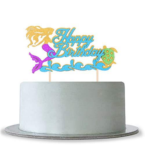 Glitzermeerjungfrau Happy Birthday Kuchendekoration für Babyparty Mädchen Geburtstag Kuchen Topper Meerjungfrau Motto Party Jahrestag Dekoration Supplies