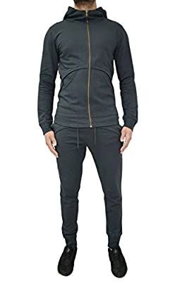 Mens Designer Tracksuit Fleece Skinny Slim Joggers Pants Bottoms & Zipper Hooded Jacket Hoody Sweat Top Cotton & Pique 4 Styles 7 Colours