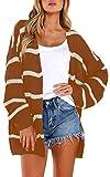 ECOWISH Damen Casual Strickjacke Gestreift V-Ausschnitt Cardigan Lose Pullover Langarm Outwear mit Taschen Herbst Winter Kaffee M