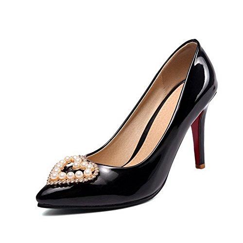 VogueZone009 Femme Tire Fermeture D'Orteil Pointu Stylet Couleur Unie Chaussures Légeres Noir