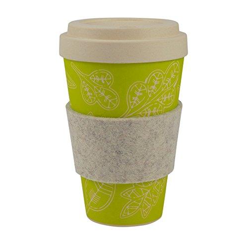 Ebos tazza coffee-to-go di bambù | con tappo a vite, anello di presa in feltro di lana reale | tazza da caffè, tazza da bevanda |ecologica | lavabile in lavastoviglie (foglia di felicità)