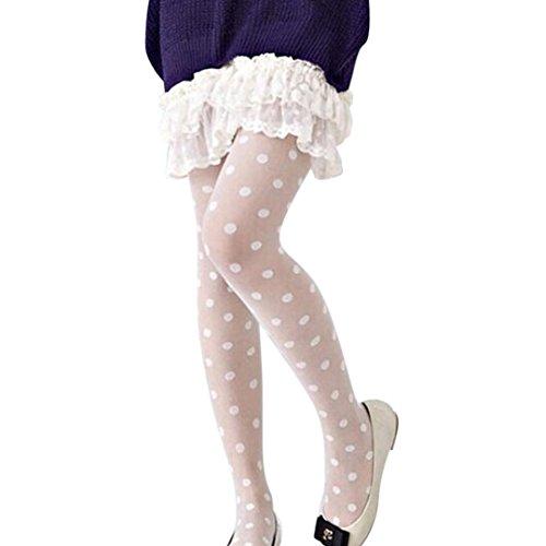 Holeider Strümpfe Damen Sexy schiere Spitze Big Dot Strumpfhose Weiß (Weiß Trim Dot Lace Schwarz)
