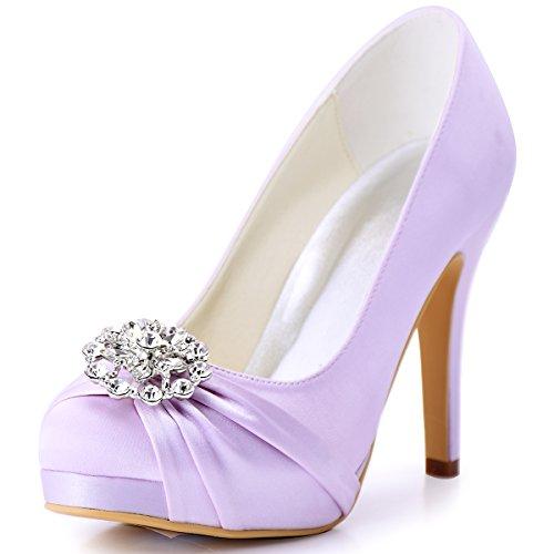 ElegantPark Fashion AH Glanz Tanzschuh Party Schuh Damen Brautschuh Runde Strass Silver Schuhclips Silver