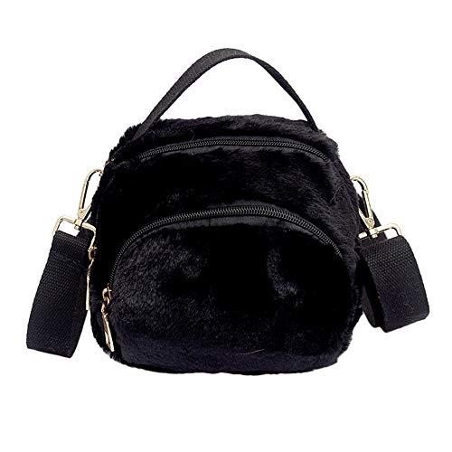 HCFKJ Tasche, Mode Frauen Leopardenmuster Reißverschluss Plüsch Messenger Bag Handtasche Schultertasche (BK)