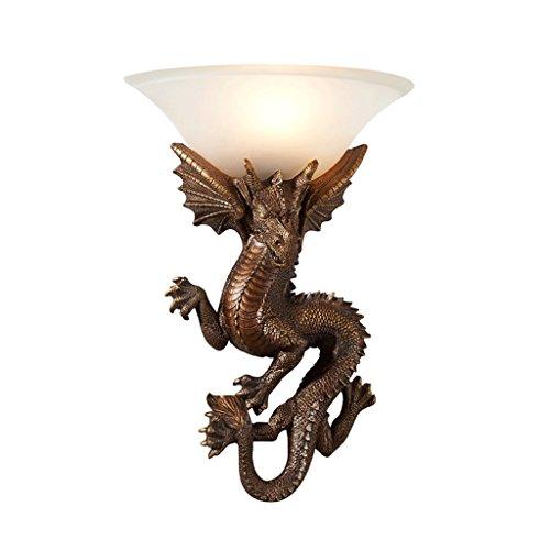 DGF Lámpara de Pared de Vidrio LED Sala de Estar Dormitorio Escalera Lámpara de Pared de Resina de Modelado de dragón (Color : Bronce)