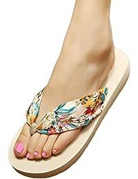 YOUJIA Mujeres Estampado Chanclas Verano Zapatos de playa Bohemia Satín Plataforma Zapatillas