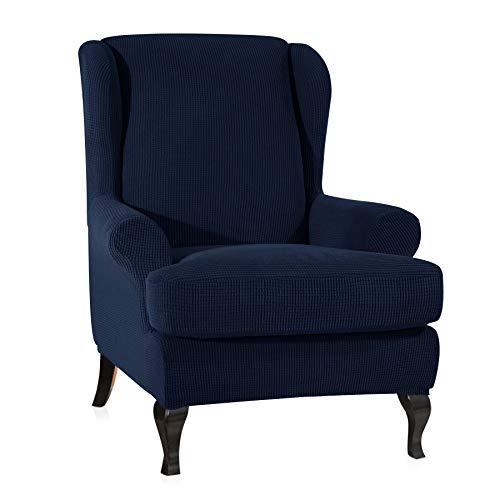 CHUN YI Ohrensessel Schonbezug Jacquard Elastische Sofaüberwurf Schutzhülle aus elastischem Sessel Husse für Ohrensessel (blau, Ohrensessel)