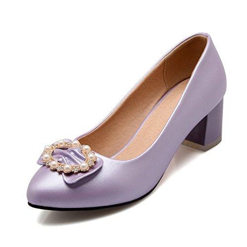 Odomolor Damen Mittler Absatz Rein Ziehen auf Spitz Zehe Pumps Schuhe, Lila, 43