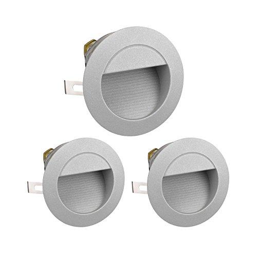 parlat LED Treppen-Licht Downunder, wetterfest, rund, warm-weiß, 230V, 3 STK. - Drei Licht-wand
