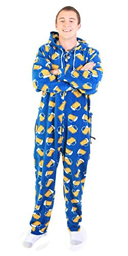 Forever Lazy non-footed Unisex adulto Onesie Beer Mugs on Blue