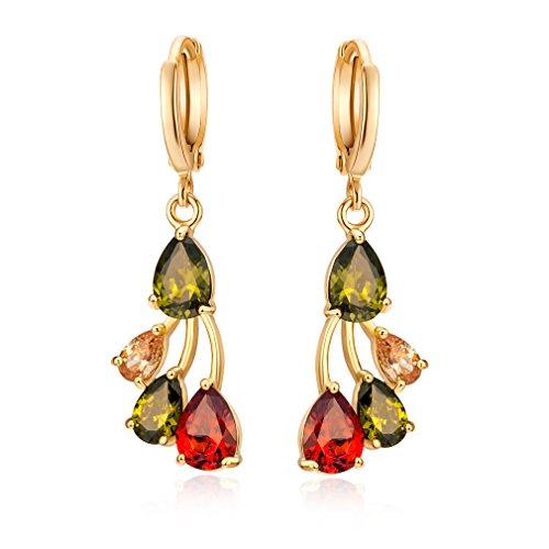 YAZILIND Dazzling Gold Gefüllt Cut Flawless Zirkonia Baumeln Ohrringe Für Frauen (Farbe)