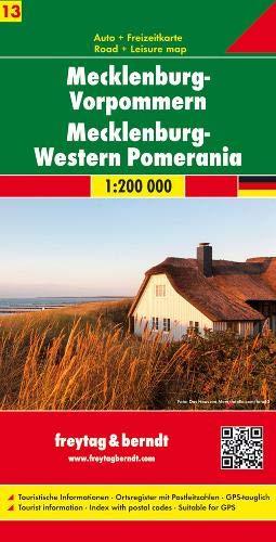 Mecklenburg-Vorpommern 1 : 200 000: Auto und Freizeitkarte. Ortsregister mit Postleitzahlen. Deutschland, Bl. 13