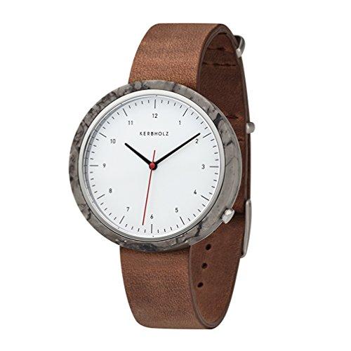 Kerbholz Herren Analog Quarz Uhr mit Leder Armband 4251240404066