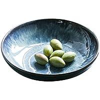 Cuenco de fideos de cerámica, azul, cuenca de la boca poco profunda Horno de sopa de glaseado Tazón de ensalada de frutas Tazón de fuente de postre Cuenco de pasta 21.5 * 5.3cm ( Tamaño : 21.5*5.3cm )