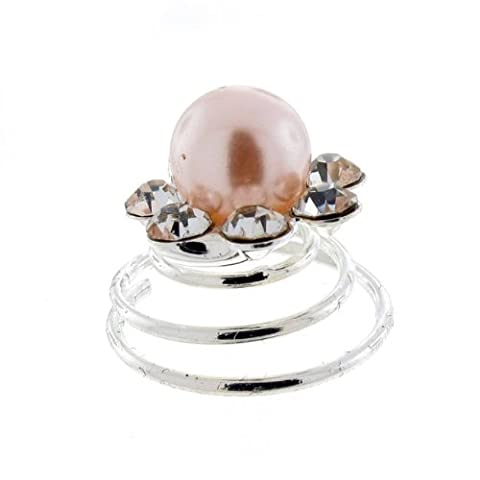 Classic Cream Pearl Bead Floral Bridal Hair Swirl Spring Pin