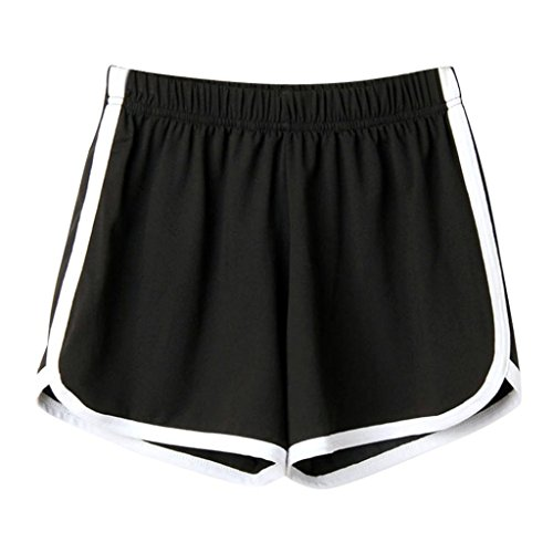 Trada Strandshorts, Mode Frauen Dame Sommer Sport Shorts Strand Kurze Hosen Lochjeans Sommershorts Damenhosen Freizeit Shorts Jeanshose Mini Hotpants Shorts (S, Schwarz)