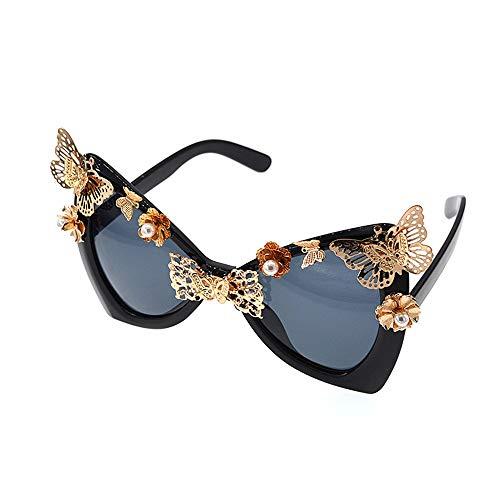 XHCP Frauen Klassische Sonnenbrille Bowknot Cat Eyes Damensonnenbrille Metallblumen Barock Sonnenbrille Schmetterling Strand Sonnenbrille Modenschau Sonnenbrille