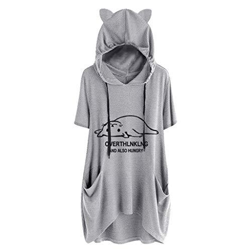 DOFENG Damen T Shirt Bluse Sweatshirt Damen Kurzarm Mode Locker Drucken Katzenohr Tasche Unregelmäßig Hem Lässig O Neck KapuzePullover Oberteil Tops (A-Grau, X-Large) -