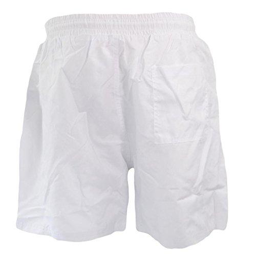 Retro Funky leuchtenden Farben mit Meshgewebe Herren Swim Shorts Badeshorts Badehose Strand Short M-XXL div. Farben Weiß - Weiß