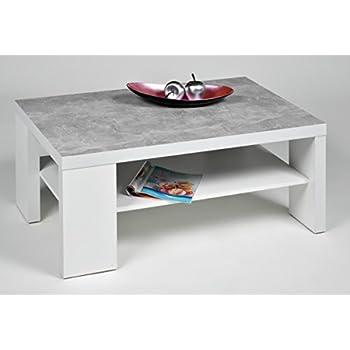 proline couchtisch florida weiss mit 50mm tischplatte in betonoptik k che haushalt. Black Bedroom Furniture Sets. Home Design Ideas