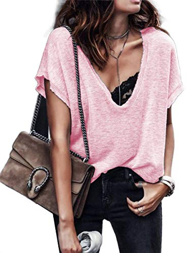 CuteRose Womens Solid-Colored Short Sleeves Relaxed Lounge V-Neck Blouse T-Shirt Pink 4XL