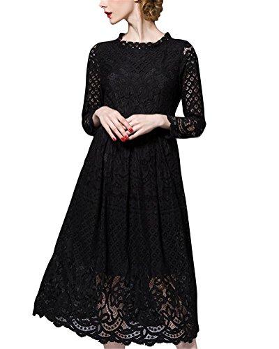 Brinny Sexy Elégante Femme Dentelle Robe de Soirée / mariage / Cérémonie / Cocktail Creux Crochet Fleur Maxi Robe Longue Noir / Blanc 6 Taille: S- 3XL Noir 1
