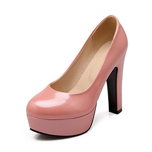 VogueZone009 Femme Pu Cuir à Talon Haut Rond Couleur Unie Tire Chaussures Légeres Rose