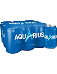 Aquarius - Limón, Bebida para deportistas, refresco sin gas, 330 ml (Pack de 9), Lata