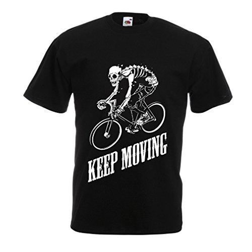 N4525 Männer T-Shirt Keep Moving (XXXXX-Large Schwarz Mehrfarben)