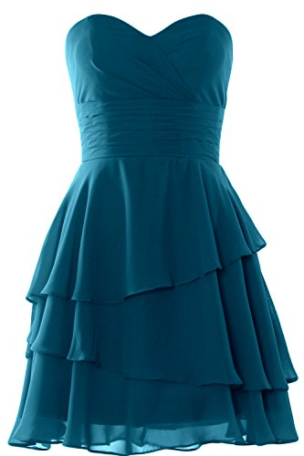 MACloth Women Strapless Tiered Cocktail Bridesmaid Dress Wedding Formal Gown Teal