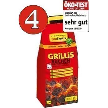 4 X Grillis Buchen Grill Holzkohle Briketts Je 3 Kg