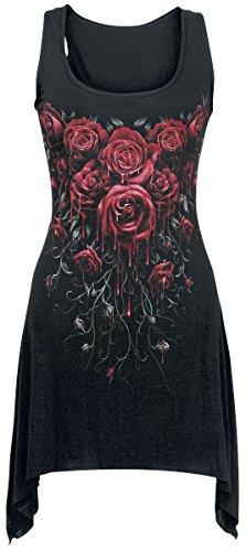 Spiral Robe pour femme Style gothique Motif Blood Rose Noir Spiral
