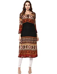 IVES Black Printed Rayon Straight Kurti For Women