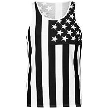 04ec2bf86e14 Qiusa Casual Tank Hommes Drapeau Américain Slim Gilet sans Manches Mode  Homme Camisole D été