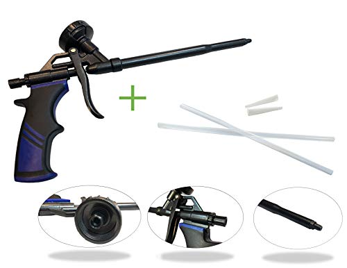 Schaumpistole, Bauschaumpistole Teflon beschichtet Bauschaum Pistole Profi-Qualität PU Expanding Foam Gun Dosierpistole Montagepistole aus Metall inkl. Verlängerungs- und Präzisionsröhrchen