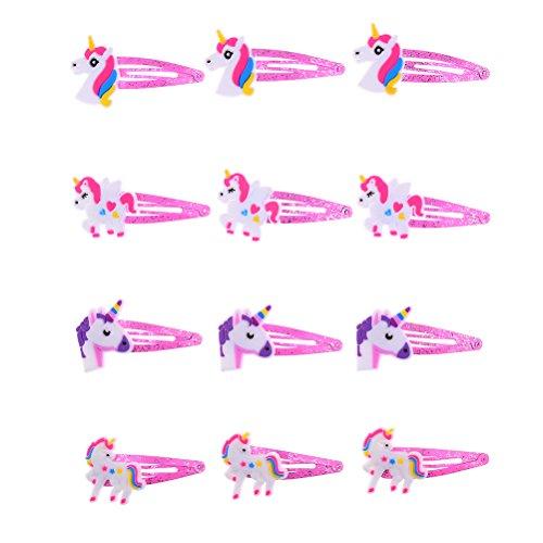 Osun 12PCS niedlichen Einhorn Haar Clips Rosa Haarspange für Baby Mädchen Haarspange Kopfschmuck Haar Zubehör