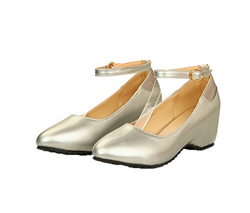 VogueZone009 Femme Fermeture D'Orteil à Talon Correct Boucle Chaussures Légeres Argent