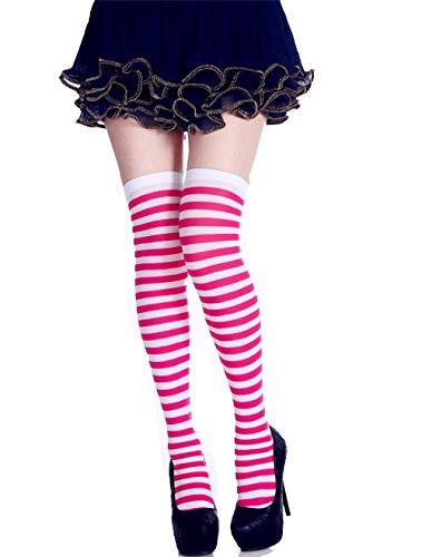 ZHRUI Weihnachtslange Knie-Socken-unterschiedliche Farbstreifen-Muster-Strümpfe (Farbe : Rosa, Größe : Einheitsgröße)