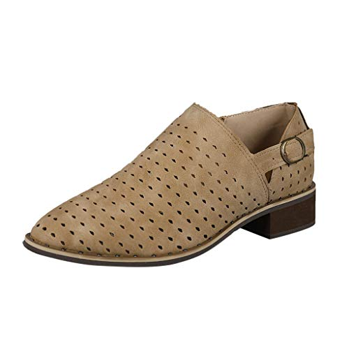 (Sandalen Damen Sommer Vintage Hohl Casual Flache Schuhe Mit Niedrigen Absätzen Schuhe Bare Ankle Rutschfeste Römer)
