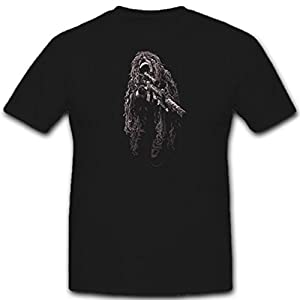 ghillie suit sniperl Camouflage Sharpshooter US Army USMC Scout School Sharpshooter Sniper one Shot one kill ghillie suit US Army USMC Scharfschützen 11302 T-Shirt