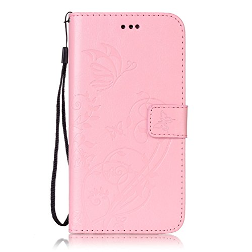 iPhone Case Cover Single Side Embossed Blumen Schmetterling Fall Deckung Wallet Stand Case mit Handschlaufe für IPhone 7 Plus 5,5 Zoll ( Color : Brown , Size : Iphone7 Plus ) Pink