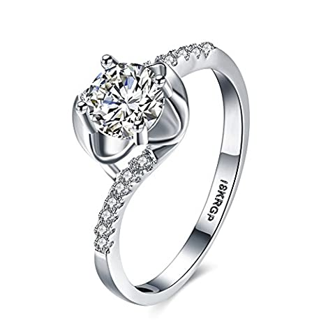 Eternity Love Women Wedding Engagement Rings 18K Gold Plated Cz Diamonds Bands Solitaire Princess Cut Promise Anniversary Bridal Jewelry Infinity Love for Her, JPR805-9-UK