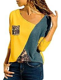 f73e3faa9da92 Innerternet Femmes Casual Lache Col en V Asymétrique T-Shirt Manches  Longues avec Patchwork Bloc de Couleur Haut Tops Blouse Tunique…