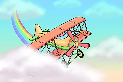 Bilderdepot24 Vlies Fototapete - Kinderbild - Flugzeug Cartoon - Pastell - 150x100 cm - Poster - Foto auf Tapete - Wandbild - Wandposter - Wand